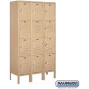 "Salsbury Metal Locker 64352 - Four Tier 3 Wide 12""W x 12""D x 15""H Tan Unassembled"