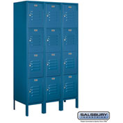 "Salsbury Metal Locker 64355 - Four Tier 3 Wide 12""W x 15""D x 15""H Blue Assembled"