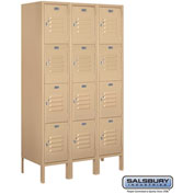 "Salsbury Metal Locker 64355 - Four Tier 3 Wide 12""W x 15""D x 15""H Tan Unassembled"