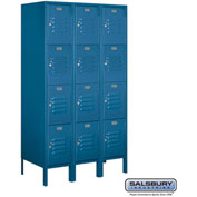 "Salsbury Metal Locker 64358 - Four Tier 3 Wide 12""W x 18""D x 15""H Blue Assembled"