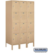 "Salsbury Metal Locker 64358 - Four Tier 3 Wide 12""W x 18""D x 15""H Tan Assembled"