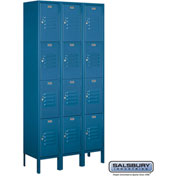 "Salsbury Metal Locker 64362 - Four Tier 3 Wide 12""W x 12""D x 18""H Blue Assembled"
