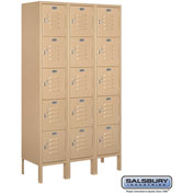 "Salsbury Metal Locker 65352 - Five Tier 1 Wide 12""W x 12""D x 12""H Tan Assembled"