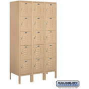 "Salsbury Metal Locker 65355 - Five Tier 1 Wide 12""W x 15""D x 12""H Tan Assembled"