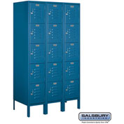"Salsbury Metal Locker 65358 - Five Tier 1 Wide 12""W x 18""D x 12""H Blue Assembled"