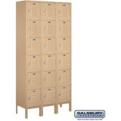 "Salsbury Metal Locker 66362 - Six Tier 3 Wide 12""W x 12""D x 12""H Tan Assembled"