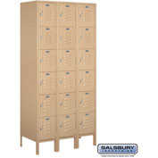 "Salsbury Metal Locker 66368 - Six Tier 3 Wide 12""W x 18""D x 12""H Tan Assembled"
