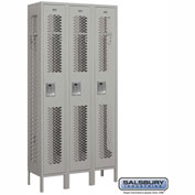 "Salsbury Vented Metal Locker 71362 - Single Tier 3 Wide 12""W x 12""D x 72""H Gray Assembled"
