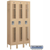 "Salsbury Vented Metal Locker 71362 - Single Tier 3 Wide 12""W x 12""D x 72""H Tan Assembled"