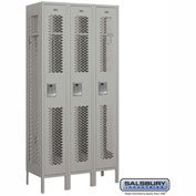 "Salsbury Vented Metal Locker 71365 - Single Tier 3 Wide 12""W x 15""D x 72""H Gray Unassembled"