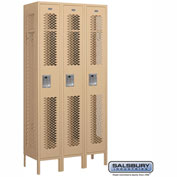 "Salsbury Vented Metal Locker 71365 - Single Tier 3 Wide 12""W x 15""D x 72""H Tan Assembled"