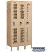 "Salsbury Vented Metal Locker 71368 - Single Tier 3 Wide 12""W x 18""D x 72""H Tan Assembled"