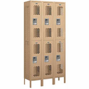 "Salsbury Vented Metal Locker 72362 - Double Tier 3 Wide 12""W x 12""D x 36""H Tan Assembled"