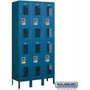 "Salsbury Vented Metal Locker 72365 - Double Tier 3 Wide 12""W x 15""D x 36""H Blue Assembled"