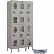 "Salsbury Vented Metal Locker 72365 - Double Tier 3 Wide 12""W x 15""D x 36""H Gray Assembled"