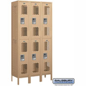 "Salsbury Vented Metal Locker 72365 - Double Tier 3 Wide 12""W x 15""D x 36""H Tan Unassembled"