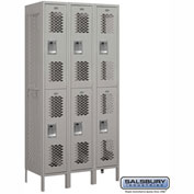 "Salsbury Vented Metal Locker 72368 - Double Tier 3 Wide 12""W x 18""D x 36""H Gray Unassembled"