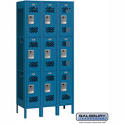 "Salsbury Vented Metal Locker 73362 - Triple Tier 3 Wide 12""W x 12""D x 24""H Blue Assembled"
