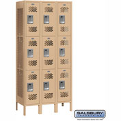 "Salsbury Vented Metal Locker 73362 - Triple Tier 3 Wide 12""W x 12""D x 24""H Tan Assembled"