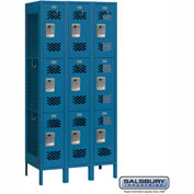 "Salsbury Vented Metal Locker 73365 - Triple Tier 3 Wide 12""W x 15""D x 24""H Blue Assembled"