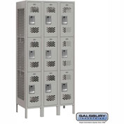 "Salsbury Vented Metal Locker 73365 - Triple Tier 3 Wide 12""W x 15""D x 24""H Gray Assembled"
