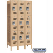 "Salsbury Vented Metal Locker 73365 - Triple Tier 3 Wide 12""W x 15""D x 24""H Tan Assembled"