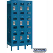 "Salsbury Vented Metal Locker 73368 - Triple Tier 3 Wide 12""W x 18""D x 24""H Blue Assembled"
