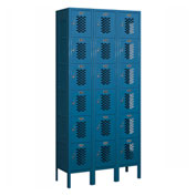 "Salsbury Vented Metal Locker 76362 - Six Tier 3 Wide 12""W x 12""D x 12""H Blue Assembled"