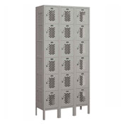 "Salsbury Vented Metal Locker 76362 - Six Tier 3 Wide 12""W x 12""D x 12""H Gray Assembled"