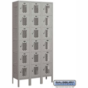 "Salsbury Vented Metal Locker 76362 - Six Tier 3 Wide 12""W x 12""D x 12""H Gray Unassembled"