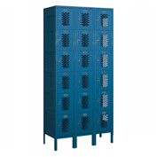 "Salsbury Vented Metal Locker 76365 - Six Tier 3 Wide 12""W x 15""D x 12""H Blue Assembled"