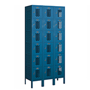 "Salsbury Vented Metal Locker 76365 - Six Tier 3 Wide 12""W x 15""D x 12""H Blue Unassembled"