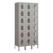 "Salsbury Vented Metal Locker 76365 - Six Tier 3 Wide 12""W x 15""D x 12""H Gray Assembled"
