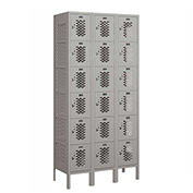 "Salsbury Vented Metal Locker 76365 - Six Tier 3 Wide 12""W x 15""D x 12""H Gray Unassembled"