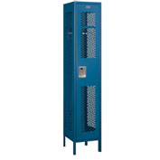 "Salsbury Extra Wide Vented Metal Locker 81168 - Single Tier 1 Wide 15""Wx18""Dx72""H Blue Assembled"