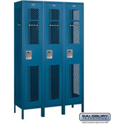 "Salsbury Extra Wide Vented Metal Locker 81368 - Single Tier 3 Wide 15""Wx18""Dx72""H Blue Assembled"