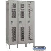 "Salsbury Extra Wide Vented Metal Locker 81368 - Single Tier 3 Wide 15""Wx18""Dx72""H Gray Assembled"