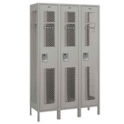 "Salsbury Extra Wide Vented Metal Locker 81368 - Single Tier 3 Wide 15""Wx18""Dx72""H Gray Unassembled"