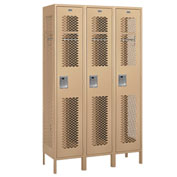 "Salsbury Extra Wide Vented Metal Locker 81368 - Single Tier 3 Wide 15""Wx18""Dx72""H Tan Assembled"