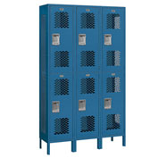 "Salsbury Extra Wide Vented Metal Locker 82365 - Double Tier 3 Wide 15""Wx15""Dx36""H Blue Assembled"