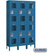 "Salsbury Extra Wide Vented Metal Locker 82365 - Double Tier 3 Wide 15""Wx15""Dx36""H Blue Unassembled"