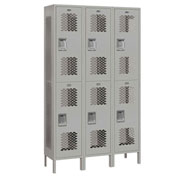 "Salsbury Extra Wide Vented Metal Locker 82365 - Double Tier 3 Wide 15""Wx15""Dx36""H Gray Unassembled"