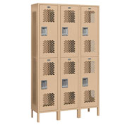"Salsbury Extra Wide Vented Metal Locker 82365 - Double Tier 3 Wide 15""Wx15""Dx36""H Tan Assembled"