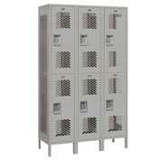 "Salsbury Extra Wide Vented Metal Locker 82368 - Double Tier 3 Wide 15""Wx18""Dx36""H Gray Assembled"