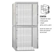 "Salsbury Bulk Storage Locker 8244-S - Starter Unit Double Tier 48""W x 48""D x 90""H Gray"