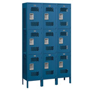 "Salsbury Extra Wide Vented Metal Locker 83365 - Triple Tier 3 Wide 15""Wx15""Dx24""H Blue Assembled"