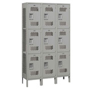 "Salsbury Extra Wide Vented Metal Locker 83365 - Triple Tier 3 Wide 15""Wx15""Dx24""H Gray Assembled"