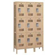 "Salsbury Extra Wide Vented Metal Locker 83365 - Triple Tier 3 Wide 15""Wx15""Dx24""H Tan Assembled"