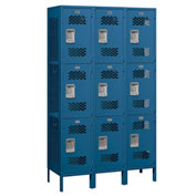 "Salsbury Extra Wide Vented Metal Locker 83368 - Triple Tier 3 Wide 15""Wx18""Dx24""H Blue Assembled"