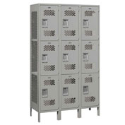 "Salsbury Extra Wide Vented Metal Locker 83368 - Triple Tier 3 Wide 15""Wx18""Dx24""H Gray Assembled"